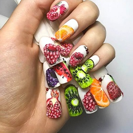 Изображение фруктов на ногтях: интересные идеи и способы нанесения рисунка